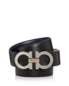 Salvatore Ferragamo - Etched Double Gancini Buckle Reversible Leather Belt